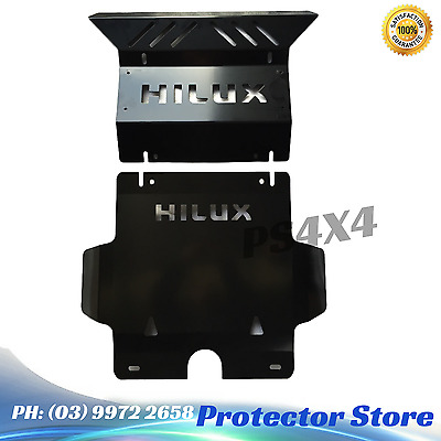 2005-2015 Toyota Hilux Black NB Steel Bash Plate 3mm With Hilux Writing