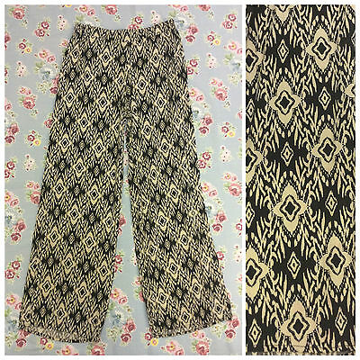 VINTAGE 90s BLACK AZTEC CRAZY TROUSERS BAGGY SUMMER SIZE 8 10 / SMALL (T16)