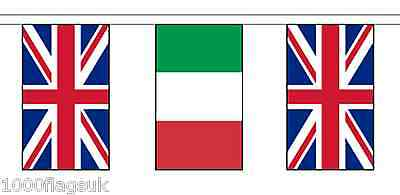 Italy & United Kingdom UK Polyester Flag Bunting - 10m with 28 Flags