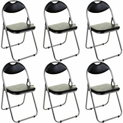 6x Folding Chairs Black Padded Desk Guest Office Computer Seat Faux Leather NEW