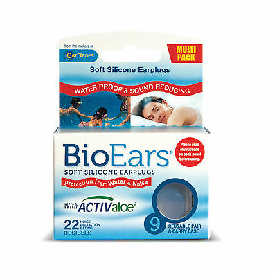BioEars Soft Silicone Earplugs with Activaloe - 9 Pair