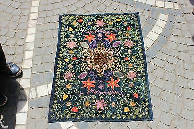 Antique Original Perfect Uzbekistan Handmade Full Velvet Silk Textile