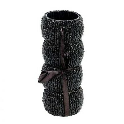 Set Of Four Attractive Black Beaded Napkin Rings