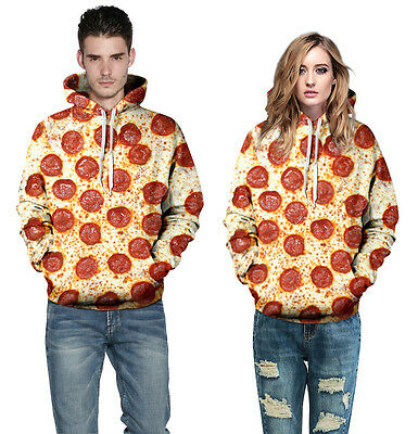 Unisex Fashion Couples Hot Clothes Pizza Print Cool Sweat Long Hoodies Tops