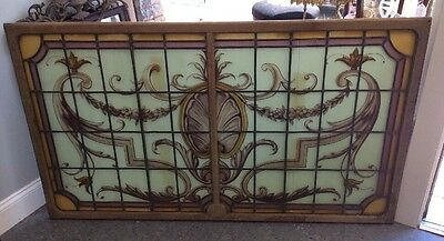Great Old Country French Paint Decorated Leaded & Stained Glass Window
