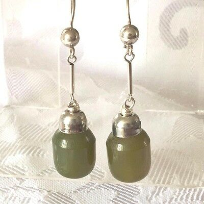 Vintage STERLING SILVER Celluloid? Early LARGE Olive Green Long Earrings 6.4g