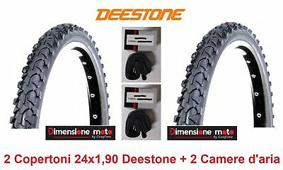 2 Copertoni Nero 24x1,90 DEESTONE +2 Camera d'aria X Bici 24 MTB Mountain Bike