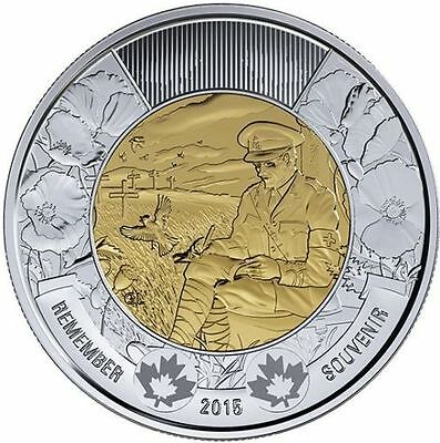 2015 Canada Remembrance Day Poem In Flanders Fields $2  Toonie Canadian