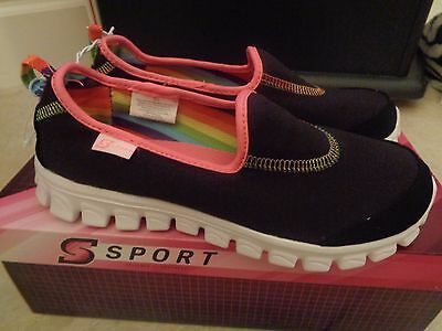NWT Youth Size Girls'  S Sport  Designed by Skechers Shoes Sneakers Black