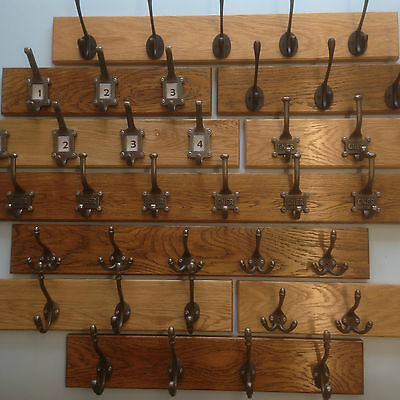 Solid Oak Wooden Coat Rail with Cast Iron Hooks with routed edge finish handmade