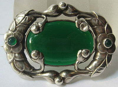 Beautiful Art Nouveau Jensen Style Vintage Sterling & Chrysoprase Floral Pin