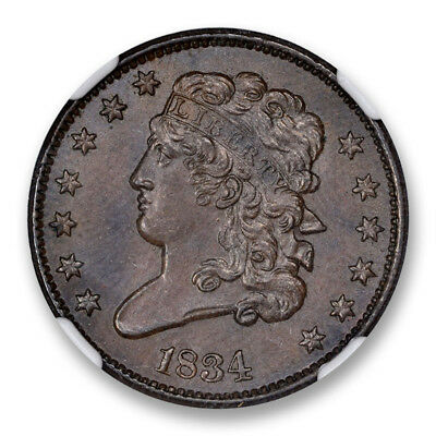 1834 Classic Head Half Cent NGC MS-64+BN C-1 1/2C  CAC Approved