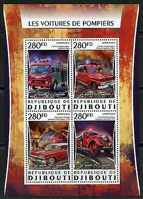 Djibouti  2016 Fire Trucks Sheet  Mint Nh
