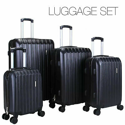4Pcs Travel Luggage Set Bag ABS Spinner Trolley Carry On Suitcase w/Lock Black