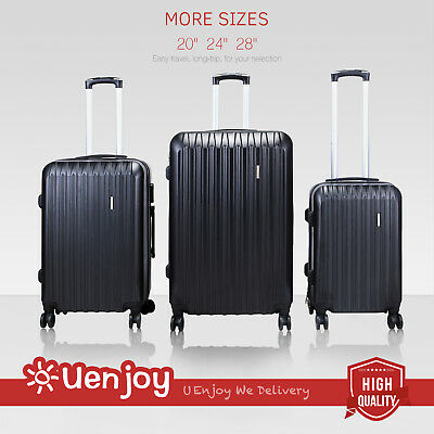 3Pcs Luggage Travel Set Bag ABS Spinner Trolley Suitcase w/TSA Lock Expandable