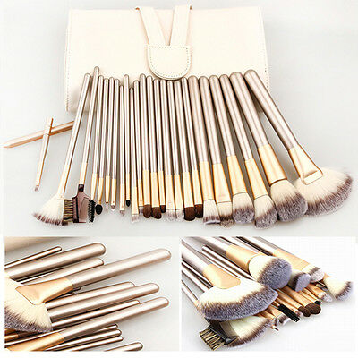 12/18/24pcs Professional Cosmetic Champagne Makeup Brushes Set With Leather Case