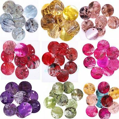 Wholesale 500pcs Mussel Shell Flat Round Coin Charm Beads 18mm U Pick Color