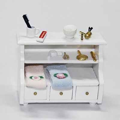 DOLLHOUSE Miniature Furniture wooden Toilet BATHROOM SHELF drawer Cabinet White