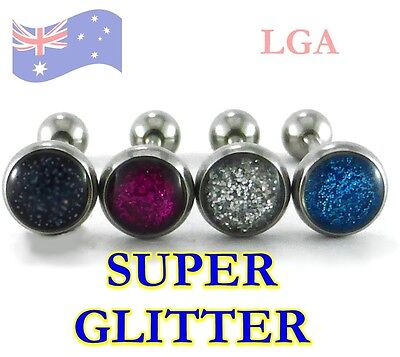 4 Tongue Bar Bars Ring Stud Barbells SUPER GLITTER pattern 14g 16mm 316L Steel *