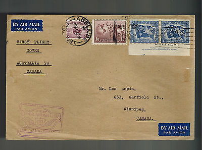 1946 Adelaide Australia FFC First Flight Cover to Winnipeg CAnada