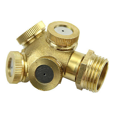 4Hole Brass Spray Misting Nozzle Garden Sprinklers Irrigation Fitting Adjustable