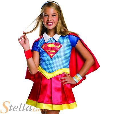 Girls Deluxe Supergirl Costume Superhero Fancy Dress DC Comics Outfit