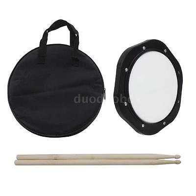 10-Inch Drum Practice Pad with Drumsticks Carrying Bag for Training Black M8Y9