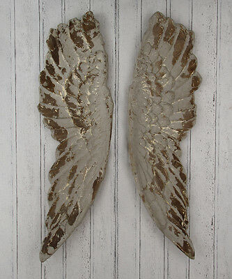 Pacific Antique Grey Poly Resin Angel Wings Wall Art 71-243