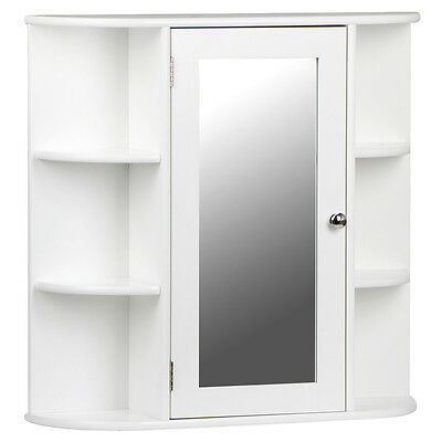 White wooden mirrored bathroom cabinet wall mounted for Bathroom cabinets ebay australia