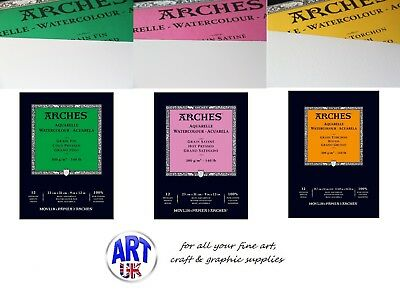 Arches Artists Waterclour Paper GUMMED PADS 140lb 300gsm Cold/Hot Pressed, Rough