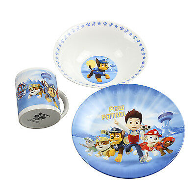Paw Patrol 3 Piece Ceramic Breakfast Lunch Dinner Set Blue Children Tableware