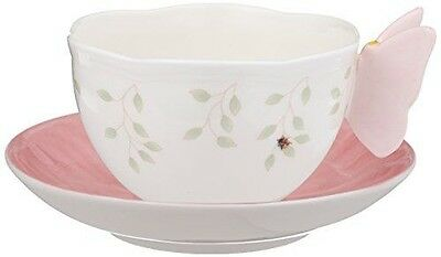 Lenox Butterfly Meadow Figural Cup and Saucer Set, Pink