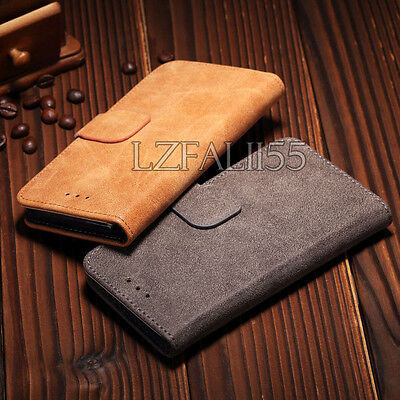 New Luxury Suede Leather Flip wallet Case Cover For Apple iPhone & Samsung Phone