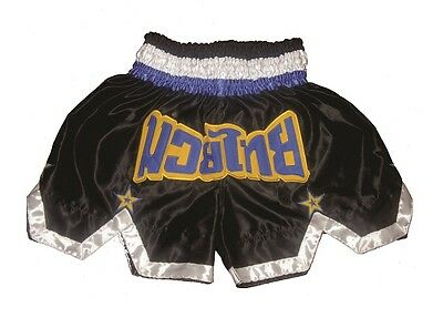 Muay Thai Shorts Thai Kickbox Hose, Muay Thai Pants 100% Satin schwarz-gelb Gr.L