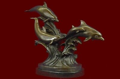 Vintage Style Williams Bronze Dolphin Turtle Nautical Reef Statue Sculpture Sale
