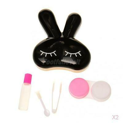 2x Rabbit Shape Travel Kit Soak Storage Contact Lens Case Box Container Holder