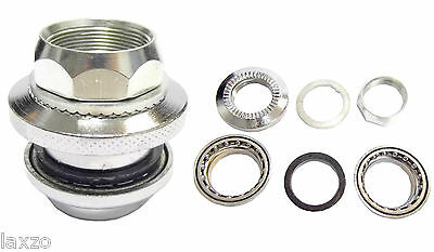 """Bicycle Cycle 1"""" Threaded Steel Road Bike Headset Silver With Bearings 48mm"""