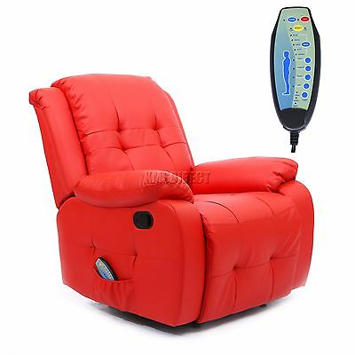 FoxHunter Leather Massage Cinema Recliner Sofa Chair Armchair Heat MLS-07 Red