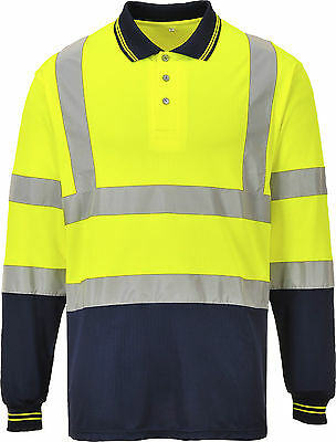 Long Sleeved Polo Shirt Hi-Vis 2Tone Top Work Safety Yellow Orange S279 Size