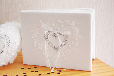 Livre d'Or Mariage Blanc Coeur Strass Broderie  NEUF
