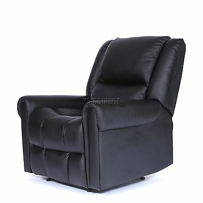 FoxHunter Luxury 1 Seater Leather Cinema Recliner Sofa Chair Armchair RS03 Black
