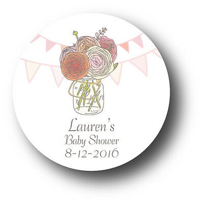 30 Baby Shower Personalized Stickers - Mason Jar with flowers