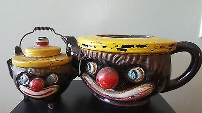 Vintage Black Americana Hand Painted Clown Teapot , and Pepper Shaker