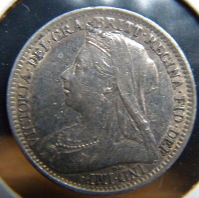 1899***great Britain***3 Pence  Ar***about Uncirculated Condition***km-777***bh