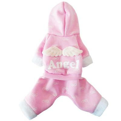 Small Dog Pet Cat Clothes Angel Coat Jacket Apparel Hoodie Sweater Pink M