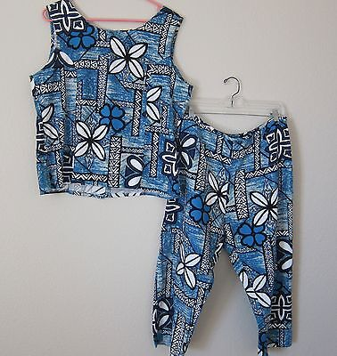 Vintage Hawaiian Blue Barkcloth Top And Pants Outfit By Evergreen Island - Large