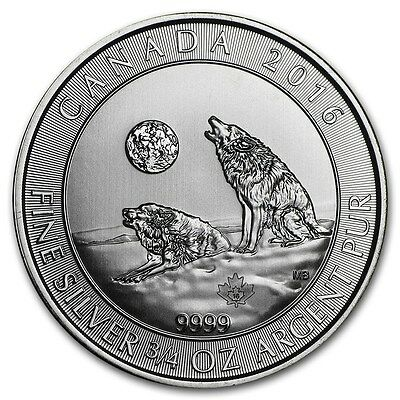 CANADA 2 Dollars Argent 3/4 Once Loup Hurlant 2016 - 3/4 Oz silver coin Wolf