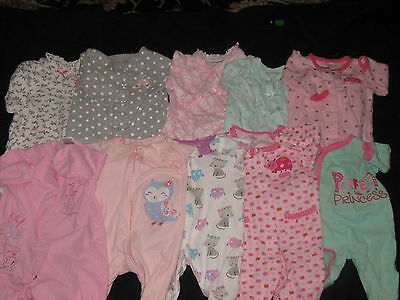 Baby Girl Size 3  Months Footed Sleepers Sleepwear Clothes Lot