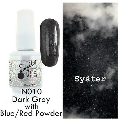 SYSTER 15ml Nail Art Soak Off Color UV Gel Polish N010 - D.Grey Blue/Red Powder
