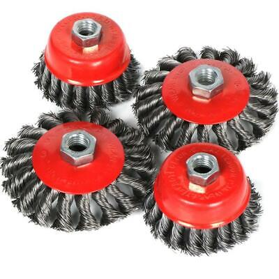 "4Pcs 3"" 4"" Twist Knot Wheel Flat Wire Cup Brush Set Angle Grinder M14 Screw"